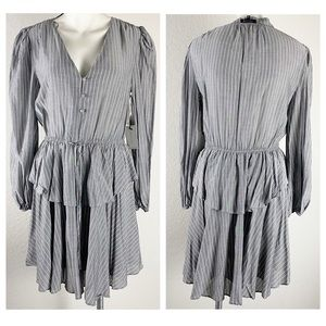 NWT 1.STATE Button Front Long Sleeve Tiered Dress